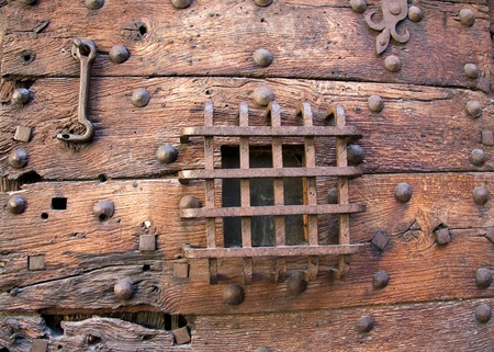 Part of the old prison door of the St Michel prison, Rennes, France photo