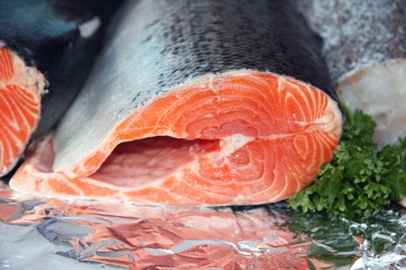 Red salmon for sale at a fish market Stock Photo - 10799058