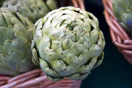 Baskets of artichokes for sale at a market Stock Photo - 10799051