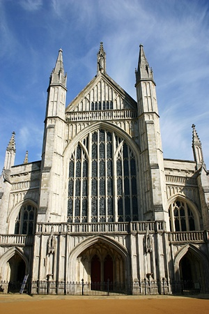 hampshire: Front facade of Winchester Cathedral, Hampshire, UK Stock Photo