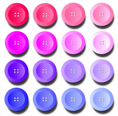 craft button: A vector illustration of buttons in shades of pink and purple on white background