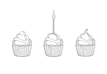 coloring sheet: A vector illustration of cupcakes. Children