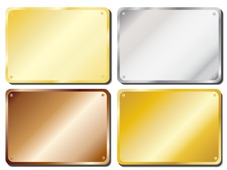 Ilustración vectorial de las placas de puerta de metal en oro, plata, latón y cobre, con copia espacio