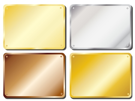 brass plate: Vector illustration of metal door plaques in gold, silver, brass and copper with copy space Illustration