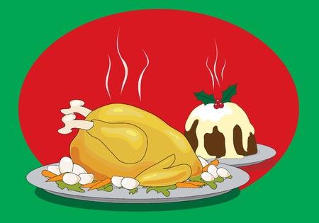 högtider: Vektor illustration av ett julbord med stekt kalkon och Christmas pudding