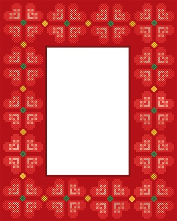 cross stitch: Vector illustration of a frame with Valentine cross stitch hearts design and copy space