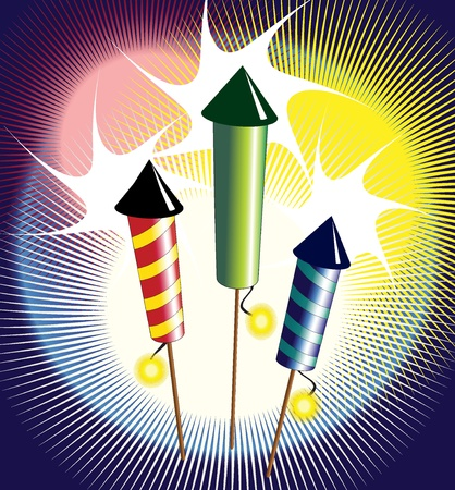 firecracker: Vector illustration of fireworks - three colourful rockets exploding