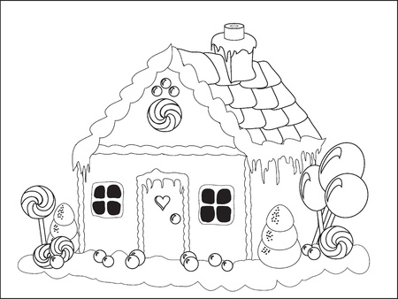 Vector illustration. Colouring page of a gingerbread house