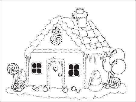 Vector illustration. Page à colorier d'une maison en pain d'épice Banque d'images - 10837568