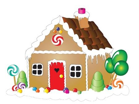 casita de dulces: Ilustración vectorial de una casa de pan de jengibre sobre fondo blanco