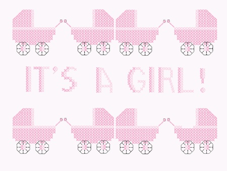 new born baby girl: Vector illustration of a cross stitch design showing pink prams with the words