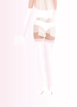 A vector illustration of a bride in white lingerie