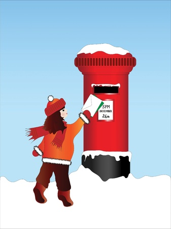 A vector illustration of a little girl posting Christmas cards and letters on Christmas Eve Vector