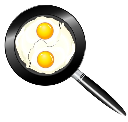 A vector illustration of two eggs frying in a pan in shape of a yinyang Vector