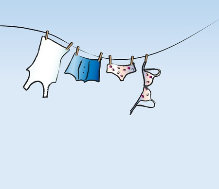 laundry line: A vector illustration of his and hers underwear dring on a washing line. Space for text