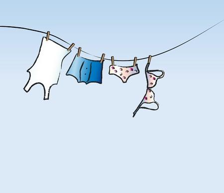 Una illustrazione vettoriale di biancheria lui e per lei dring su una linea di lavaggio. Spazio per il testo