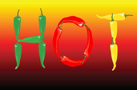 A vector illustration of red, green and yellow chilli peppers spelling the word  Vector