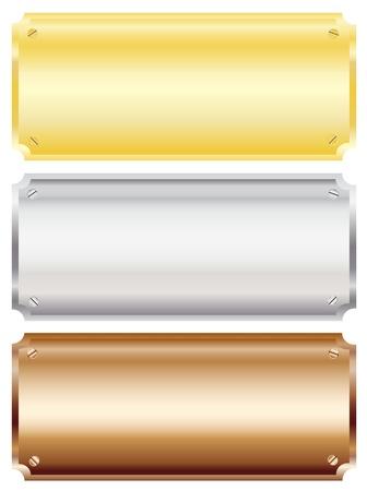 lamiera metallica: Illustrazione vettoriale di placche in metallo da parete in bianco in ottone, argento e rame con copia spazio