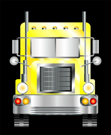 trucking: A vector illustration of the front view of a yellow lorry, isolated on black