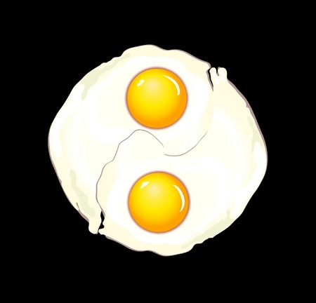 A vector illustration of two fried eggs forming a ying yang symbol Vector