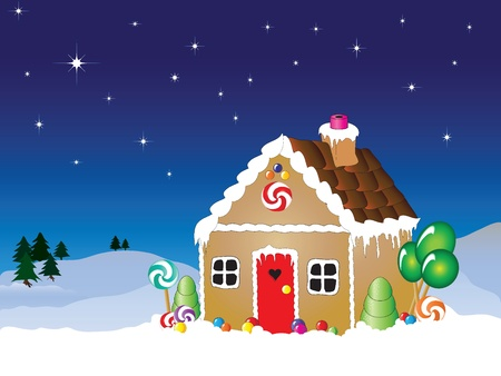 Vector illustration of a gingerbread house snow scene with star filled sky. Vector