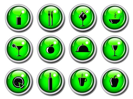 A vector illustration of a set of food icons on glossy web buttons Stock Illustration - 10837590