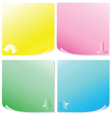 A vector illustration of sticky notes with Christmas icons Stock Vector - 10837716
