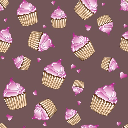 A vector illustration of pink cupcakes and hearts on plain background. Sketch style seamless pattern.