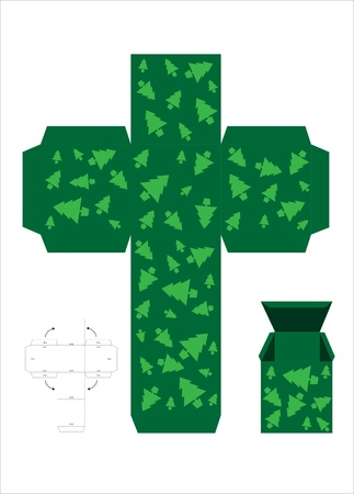A vector illustration of a template for creating a gift box. Green with Christmas trees. Vector