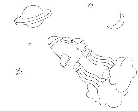 coloring sheet: A vector illusrtaion of a spaceship in space. Cartoon style children