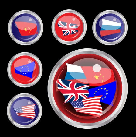 A vector illustration of glossy web buttons with flags of the UK, USA, EU, Russia and China  one large  Vector