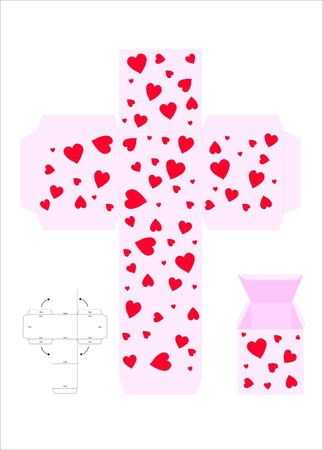 square cut: A vector illustration template for creating a Valentine gift box. Pink with love hearts