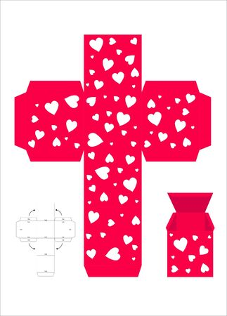 red gift box: A vector illustration template for creating a Valentine gift box. Red with white love hearts