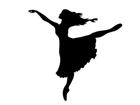 ballet: Sihouette de una bailarina realizando un arabesco Vectores