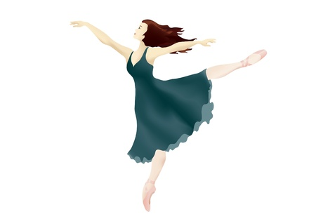 pointe: Vector illustration of a ballerina performing an Arabesque on white background