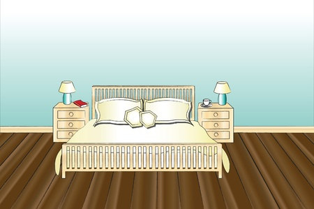 A vector illustration of a bedroom with space for text Vector