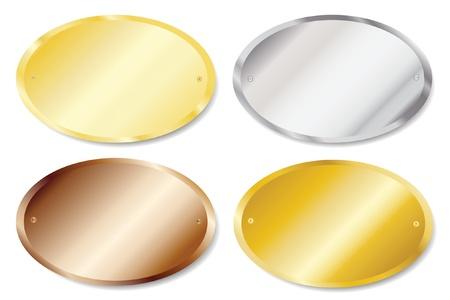 placa bacteriana: Ilustración vectorial de las placas de las puertas de metal en oro, plata, latón y cobre, con copia espacio