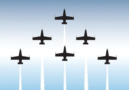 航空ショー: 編隊飛行のジェット機のイラスト。ベクトルまたは .jpg ファイルとして利用可能