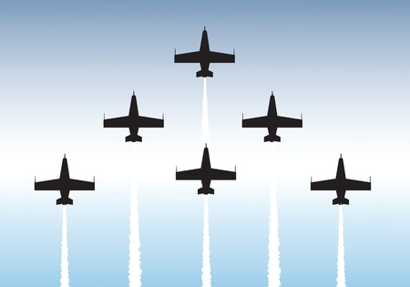 fighter pilot: Illustration of jets flying in formation. Available as vector or .jpg file