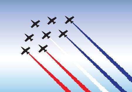 航空ショー: 編隊飛行のジェット機のイラスト。ベクトルまたは .jpg のどちらかとして利用可能