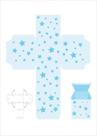 A vector illustration of a template for creating a gift box. Blue with stars. Vector