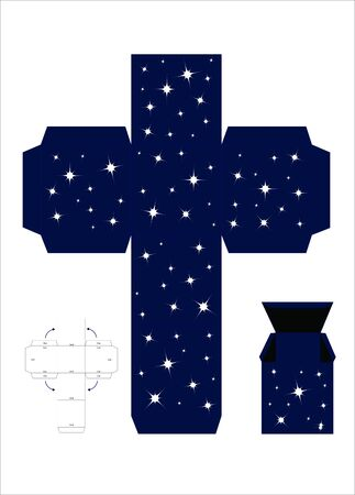 A vector illustration of a template for creating a gift box. Night sky effect. Vector