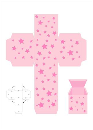 box template: A vector illustration of a template for creating a gift box. Pink with stars. Illustration