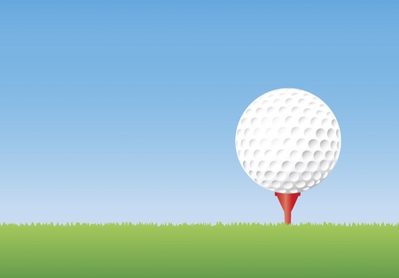 Vector illustration of a golf ball on a tee in short grass. Copyspace available. Vector