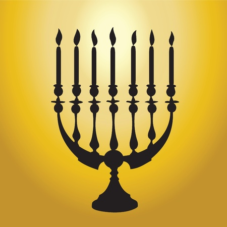 Vector Illustration eines Chanukkia Silhouette gegen Gold auf weißem backgroundsolated