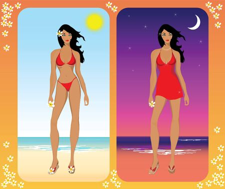 A vector illustration depicting a slender woman on a beach in day and night holiday wear. Vector