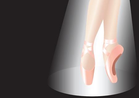 ballet clásico: Ilustración vectorial de una bailarina en el centro de atención. Cerca de las piernas con espacio de copia.
