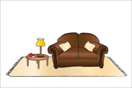 Una illustrazione vettoriale di un salotto con divano, tavolo da caffè tappeto, e la lampada.
