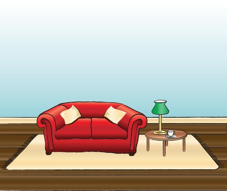 room for text: A vector illustration of a sitting room with space for text