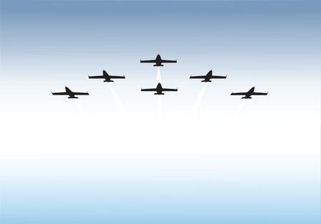 aircraft bomber: Illustration of jets flying in formation with copy space. Available as vector or .jpg
